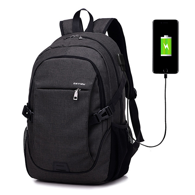 15.6 Inch Laptop Commuter Backpacks Terylene Solid Colored for Business Office for Colleages & Schools for Travel with USB Charging Port / Headphones Hole