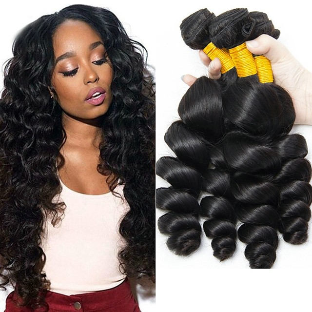 3 Bundles Hair Weaves Indian Hair Wavy Human Hair Extensions Remy Human Hair 100% Remy Hair Weave Bundles 300 g Natural Color Hair Weaves / Hair Bulk Human Hair Extensions 8-28 inch Natural Color