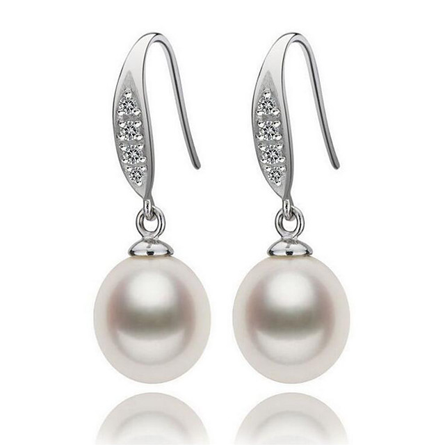Women's Pearl Freshwater Pearl Drop Earrings Natural Elegant Pearl S925 Sterling Silver Freshwater Pearl Earrings Jewelry White For Party Gift
