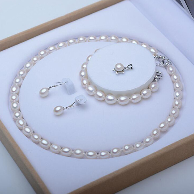 White Freshwater Pearl Jewelry Set Beaded Single Strand Bridal Set Ladies Elegant Vintage For Mother's Day Mom Silver Earrings Jewelry White For Wedding Party Gift