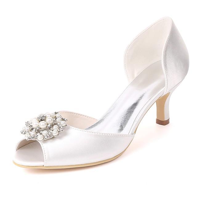 Women's Wedding Shoes Glitter Crystal Sequined Jeweled Stiletto Heel Peep Toe Rhinestone / Imitation Pearl Satin Basic Pump Spring & Summer Purple / Red / Champagne / EU41