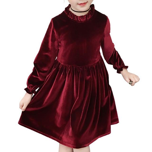 Kinder Mädchen Süß Solide Langarm Knielang Kleid Rosa ...