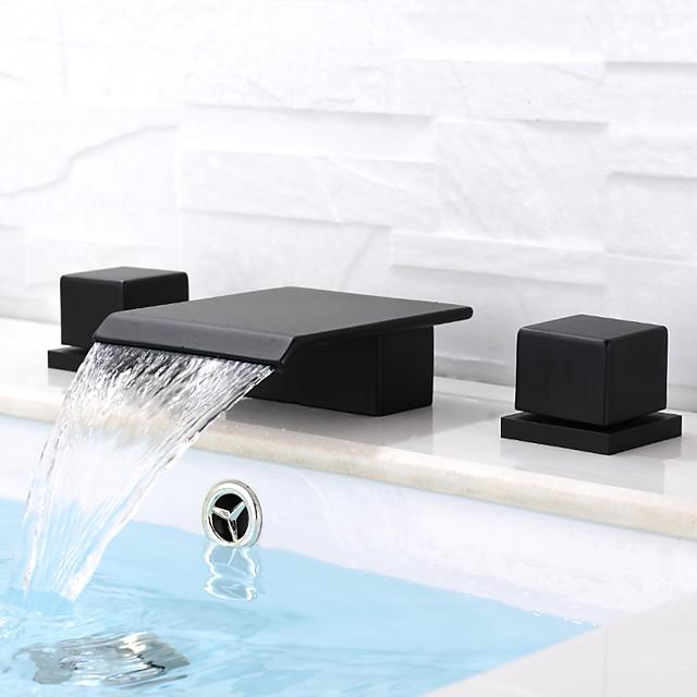 Bathroom Sink Faucet - Waterfall / Widespread Black Deck Mounted Two Handles Three HolesBath Taps
