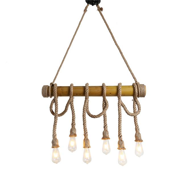 6-Light 6-Head 80cm Vintage Hemp Rope With Bamboo Pendant Lights Loft Creative Living Room Restaurant Clothing Store Lamp