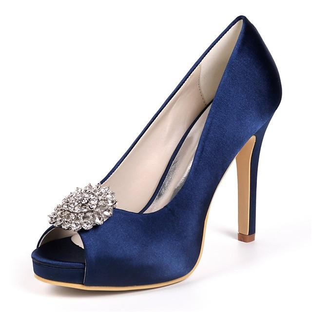 Women's Wedding Shoes Glitter Crystal Sequined Jeweled Stiletto Heel Peep Toe Rhinestone Satin Basic Pump Spring Purple / Red / Champagne