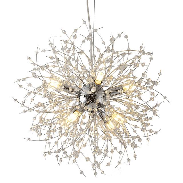 8-Light Modern Electroplated Globe Chandeliers Firework Led Vintage Pendant Lights Living Room Dining Room G9 Bulb Base