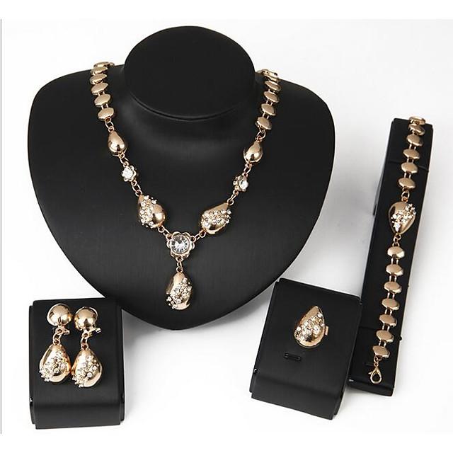 Women's Jewelry Set Chain Bracelet Stud Earrings Geometrical Ladies Sweet Fashion Italian Gold Plated Earrings Jewelry Gold For Wedding Evening Party / Pendant Necklace / Ring