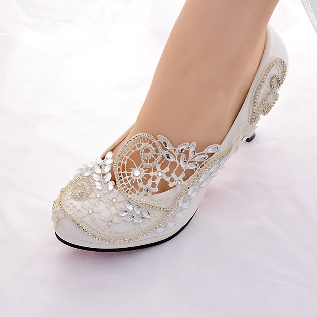 Women's Wedding Shoes Glitter Crystal Sequined Jeweled Spring & Summer Stiletto Heel Round Toe Slingback Basic Pump Wedding Party & Evening Birthday Rhinestone / Sparkling Glitter Solid Colored Lace