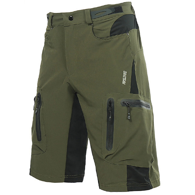 Arsuxeo Muškarci Kratke hlače za MTB Poliester Spandex Bicikl Kratke hlače Vrećaste hlače Kratke hlače za MTB Prozračnost Quick dry Vodootporni patent Sportski Tamno siva / žuta / Tamno zelena Brdski