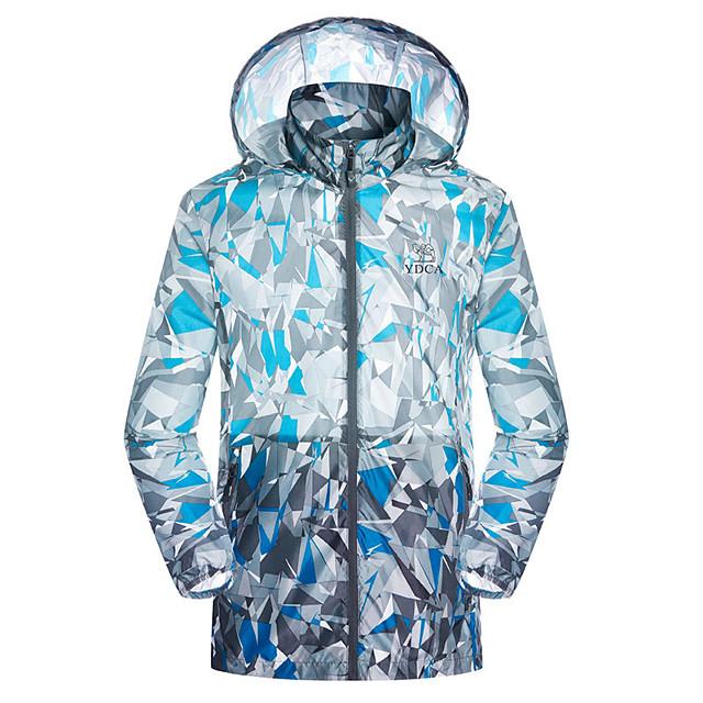 Shamocamel® Men's Hiking Raincoat Hiking Skin Jacket Outdoor Camo Lightweight Sunscreen UV Resistant Rain Waterproof Jacket Hoodie Waterproof Hunting Bike / Bicycle Camping / Hiking / Caving Black