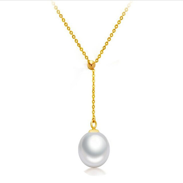 Women's Pearl Freshwater Pearl Pendant Necklace Y Necklace Ladies Fashion Pearl Sterling Silver Stainless Steel White Gold 45 cm Necklace Jewelry For Gift Daily / 18K Gold