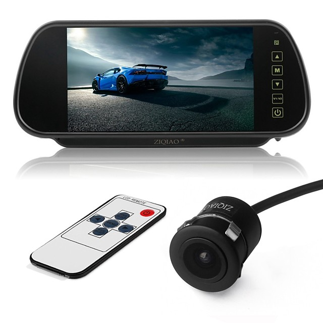 ZIQIAO 7 Inch Color TFT LCD Car Rear View Mirror Monitor and CCD HD Waterproof Car Rear View Camera