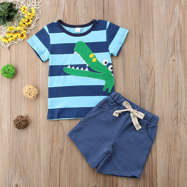 Toddler Boys' Basic Daily Sports Striped Print Solid Colored Print Short Sleeve Regular Regular Clothing Set Blue / Cute