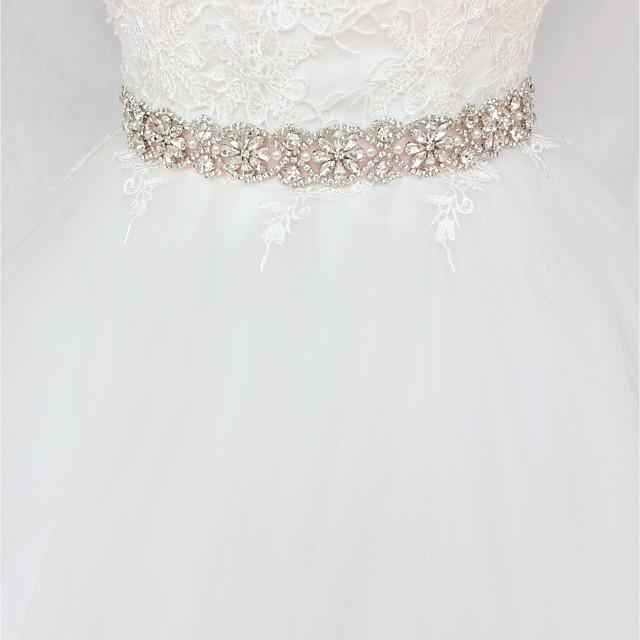 Satin / Tulle Wedding / Party / Evening Sash With Imitation Pearl / Crystals / Rhinestones Women's Sashes