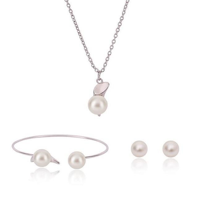 Women's Pearl Jewelry Set Ladies Sweet Fashion Pearl Earrings Jewelry Silver For Birthday Date