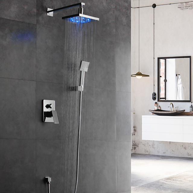 Shower Faucet Set - Rainfall Contemporary Chrome Wall Mounted Ceramic Valve Bath Shower Mixer Taps / Brass / Single Handle Four Holes