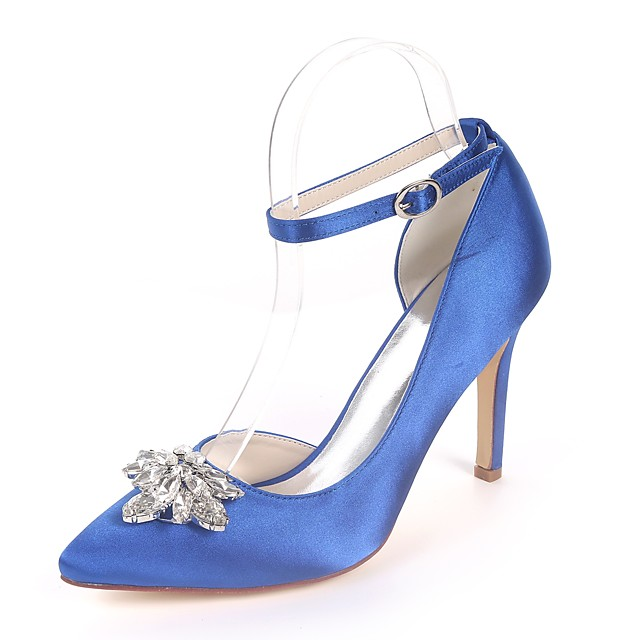 Women's Wedding Shoes Glitter Crystal Sequined Jeweled Stiletto Heel Pointed Toe Rhinestone Satin Basic Pump Spring & Summer Red / Champagne / Royal Blue / Party & Evening