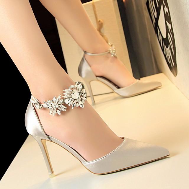 Women's Heels Glitter Crystal Sequined Jeweled Stiletto Heel Satin Basic Pump Summer Red / Pink / Green / EU36