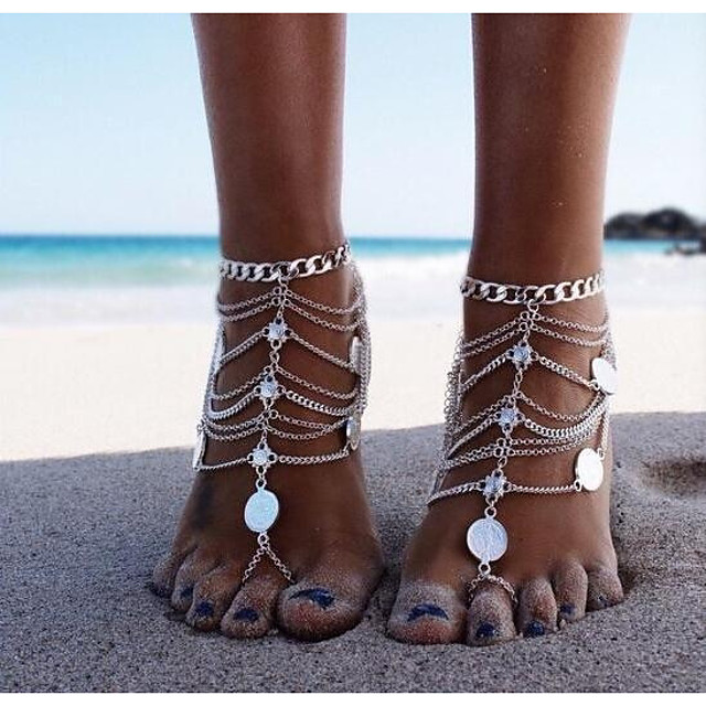 Barefoot Sandals feet jewelry Ladies Classic Vintage Women's Body Jewelry For Bikini Coin Alloy Silver