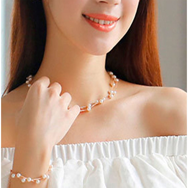 Women's Pearl Bridal Jewelry Sets Floating Ladies Classic Vintage Fashion Pearl Imitation Pearl Earrings Jewelry Gold / Silver For Wedding Engagement Masquerade Engagement Party Prom Promise