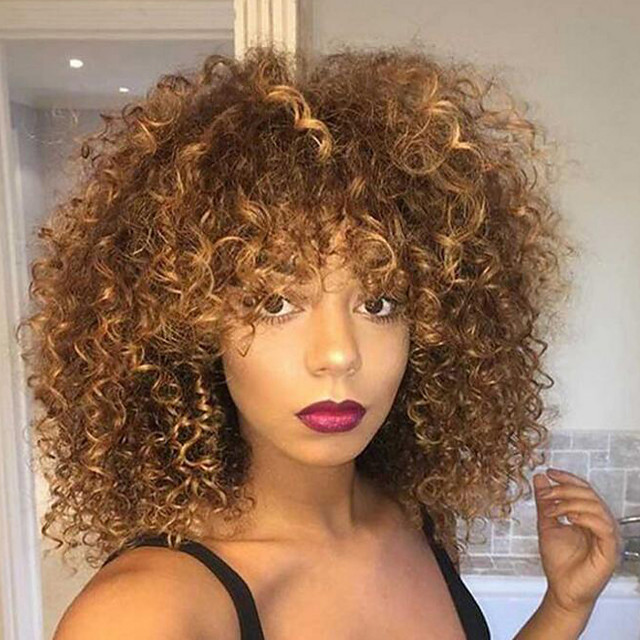 Synthetic Wig Kinky Curly Kinky Curly Wig Blonde Medium Length Blonde Synthetic Hair Women's Highlighted / Balayage Hair Blonde