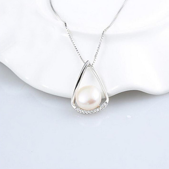 Women's Cubic Zirconia Freshwater Pearl Pendant Necklace Solitaire Ladies Simple European Stainless Steel S925 Sterling Silver Freshwater Pearl Silver 42 cm Necklace Jewelry 1pc For Wedding Party