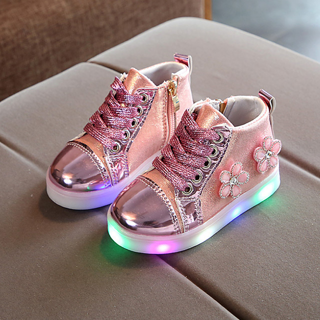 Girls' Boots LED / Bootie / LED Shoes PU Toddler(9m-4ys) / Little Kids(4-7ys) Chain / Lace-up / LED Pink / Gold / Silver Spring &  Fall / Spring & Summer / Booties / Ankle Boots