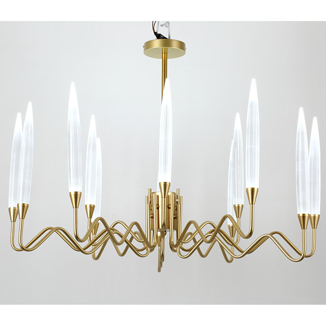 12 Bulbs QIHengZhaoMing 86 cm Candle Style Chandelier Metal Electroplated Modern 110-120V / 220-240V