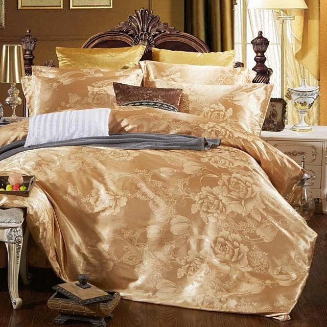 Duvet Cover Sets Luxury Silk / Cotton Blend Jacquard 4 PieceBedding Sets / 4pcs (1 Duvet Cover, 1 Flat Sheet, 2 Shams)