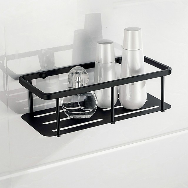Bathroom Shelf Rectangle Wall Mounted Rustic Stainless Steel Storage Set for Living Room and Bathroom Matte Black 1PC