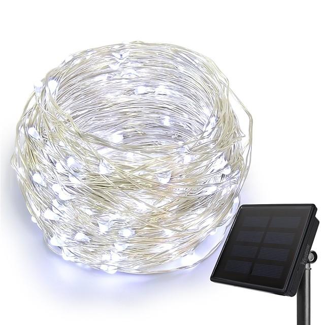 KWB 10 m Łańcuchy świetlne 100 Diody LED 1 Zestaw wspornika montażowego 1 zestaw Ciepła biel Biały Niebieski Wodoodporny Na energię słoneczną Kreatywne Zasilanie solarne