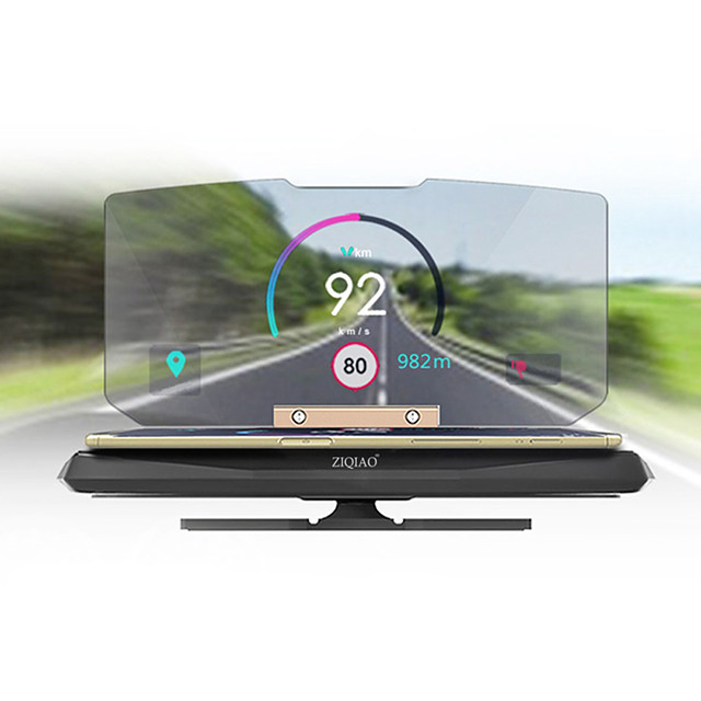 ZIQIAO 6 inch Head-up Display Car Phone Holder GPS HUD Projector for Self-driving Travel