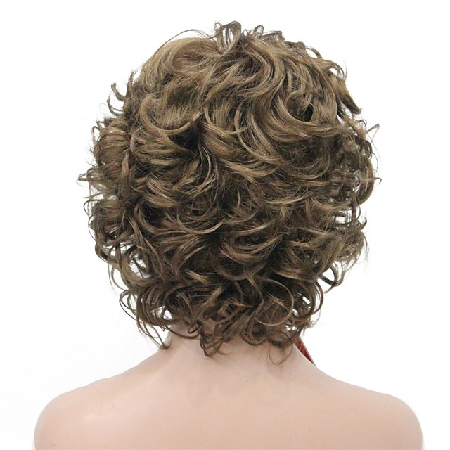 Synthetic Wig Curly Middle Part Wig Short Golden Brown Synthetic Hair Women's Fluffy Dark Brown StrongBeauty
