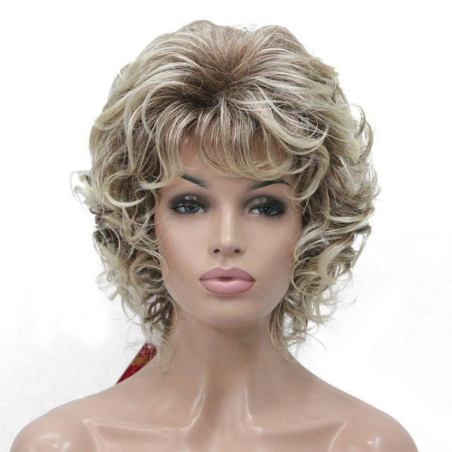 Synthetic Wig Curly Middle Part Wig Blonde Short Blonde Synthetic Hair Women's Kanekalon Hair Blonde StrongBeauty