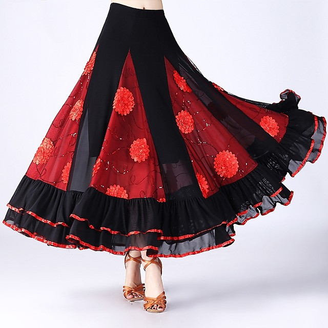 Ballroom Dance Skirts Scattered Bead Floral Motif Style Ruching Split Joint Women's Performance Natural Tulle