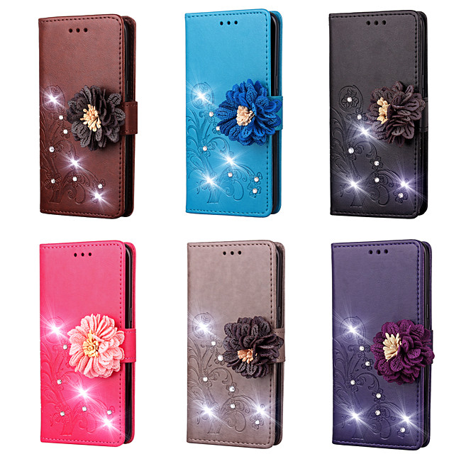 Case For LG LG G6 / LG G5 / LG G4 Stylus / LS770 Wallet / Card Holder / Rhinestone Full Body Cases Solid Colored / Flower Hard PU Leather