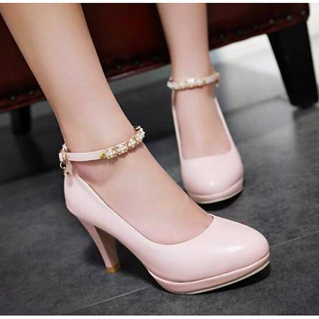 Women's Heels Glitter Crystal Sequined Jeweled Stiletto Heel PU Comfort / Basic Pump Spring Pink / White / Black / Daily / EU36