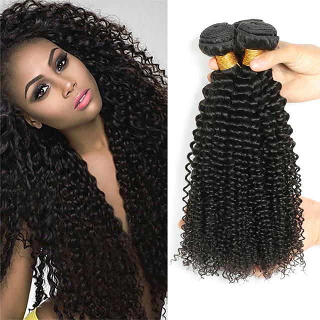 4 Bundles Hair Weaves Indian Hair Curly Human Hair Extensions Remy Human Hair 100% Remy Hair Weave Bundles 400 g Natural Color Hair Weaves / Hair Bulk Human Hair Extensions 8-28 inch Natural Color