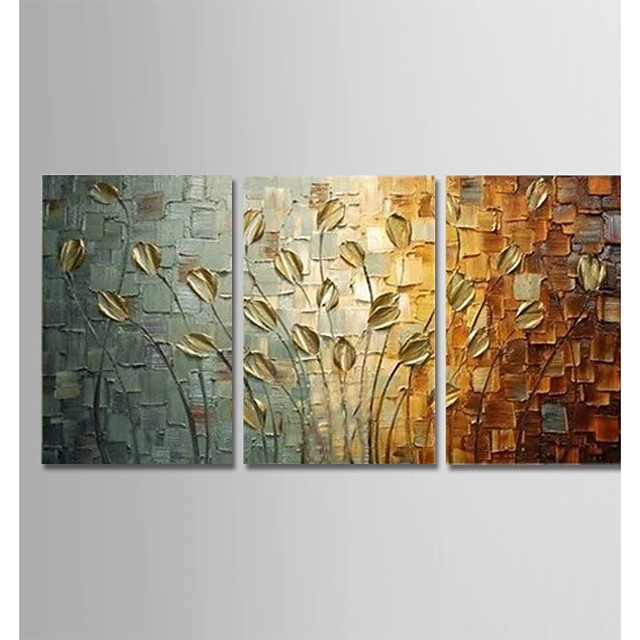 Oil Painting Hand Painted Vertical Abstract Modern Stretched Canvas / Three Panels