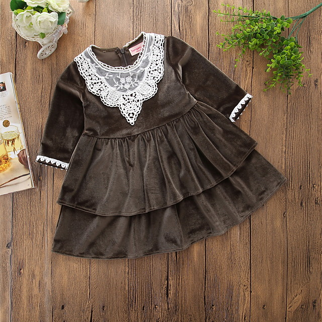 Baby Girls' Vintage Sophisticated Daily Holiday Jacquard Solid Colored Embroidered Long Sleeve Midi Mid-Calf 50-60 cm Dress Army Green / Toddler