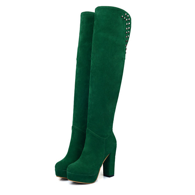 Women's Boots Suede Shoes Chunky Heel Round Toe Rivet Suede Over The Knee Boots Fashion Boots Fall & Winter Black / Brown / Dark Green / Party & Evening