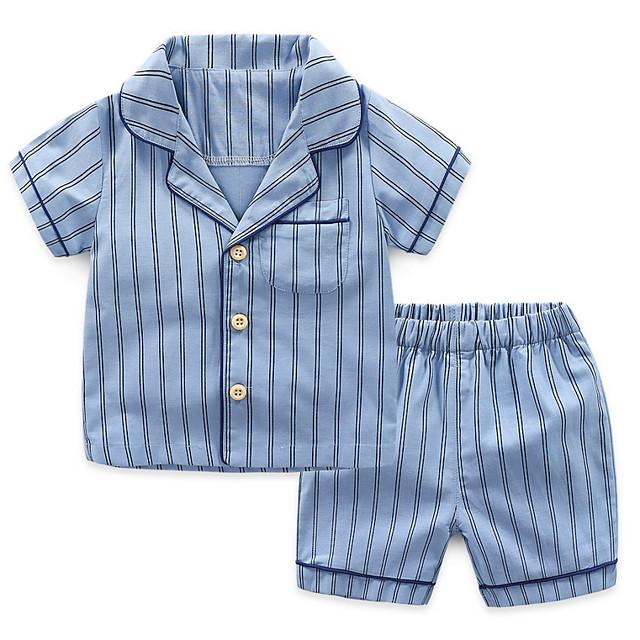 Kids Boys' Basic Daily Striped Print Short Sleeve Regular Clothing Set White