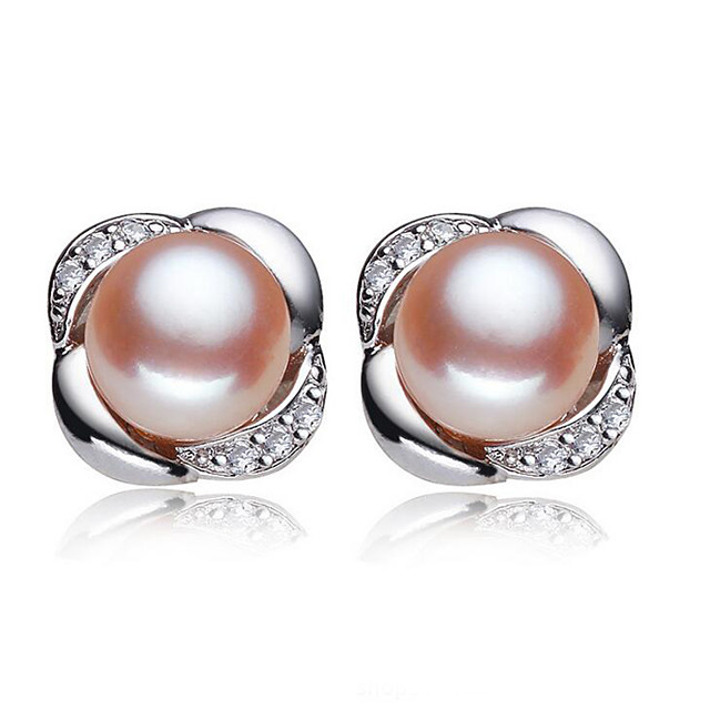 Women's Cubic Zirconia Freshwater Pearl Stud Earrings Solitaire Flower Ladies Natural Sweet Fashion Stainless Steel S925 Sterling Silver Freshwater Pearl Earrings Jewelry White / Pink For Wedding