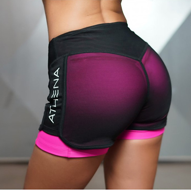 Women's Yoga Shorts 2 in 1 With Inner Shorts Bottoms Butt Lift Quick Dry Fuchsia Green Mesh Gym Workout Running Fitness Sports Activewear High Elasticity Slim