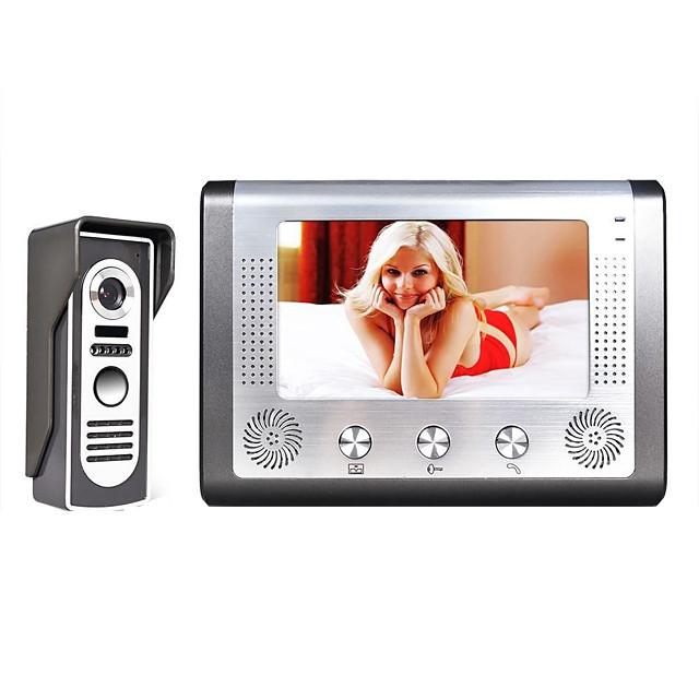 MOUNTAINONE 7 Inch TFT Video Door Phone Doorbell Intercom Kit 1-Camera 1-Monitor Night Vision with HD 700TVL Camera TFT LCD Display Wall Mounted Hands-free