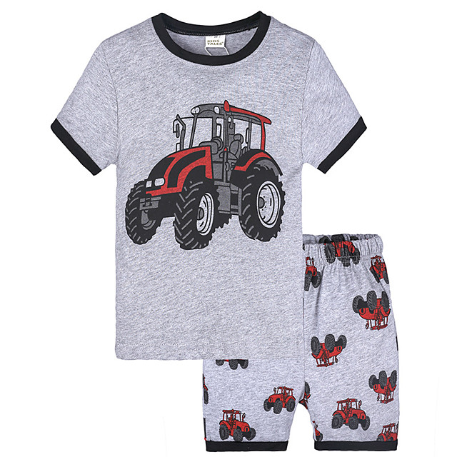 Toddler Boys' Active Vintage Daily School Print Short Sleeve Regular Regular Clothing Set Gray