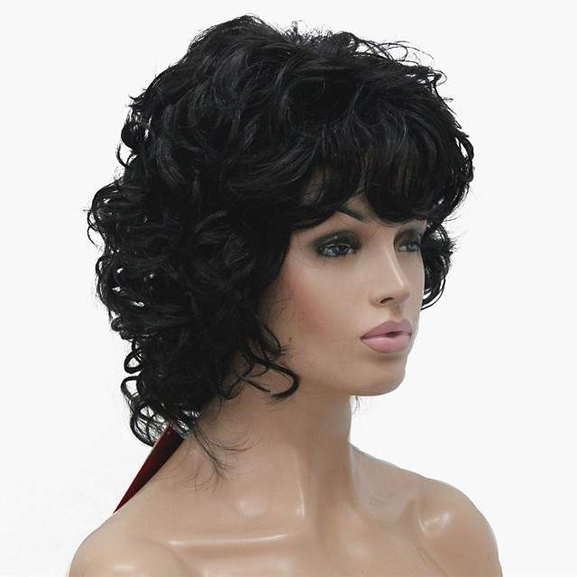 Synthetic Wig Curly Middle Part Wig Short Dark Brown Synthetic Hair Women's Best Quality Black StrongBeauty