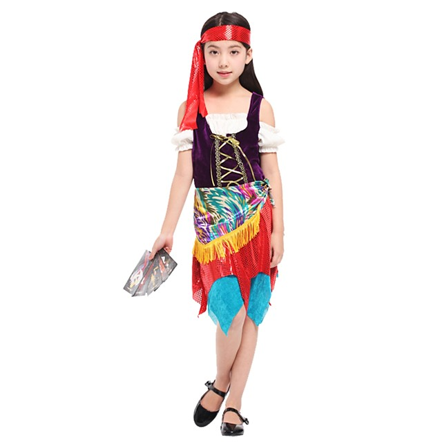 Cosplay Costume Girls' Kids Halloween Halloween Carnival Children's Day Festival / Holiday Polyster Outfits Rainbow Solid Colored Halloween