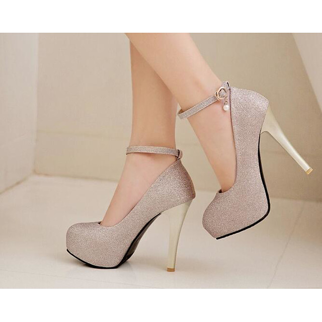 Women's Heels Stiletto Heel Synthetics Comfort / Basic Pump Spring / Fall Black / Gold / Silver / Daily