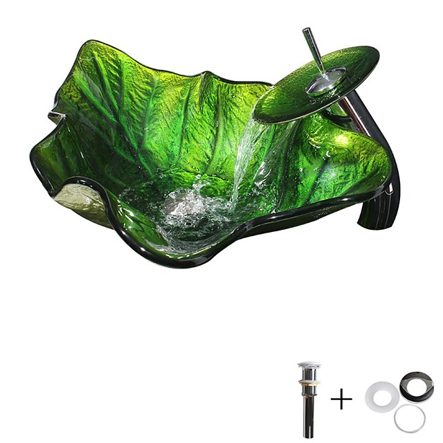 Green Leaves Bathroom Sink / Bathroom Faucet / Bathroom Mounting Ring Contemporary / Antique - Tempered Glass Rectangular Vessel Sink